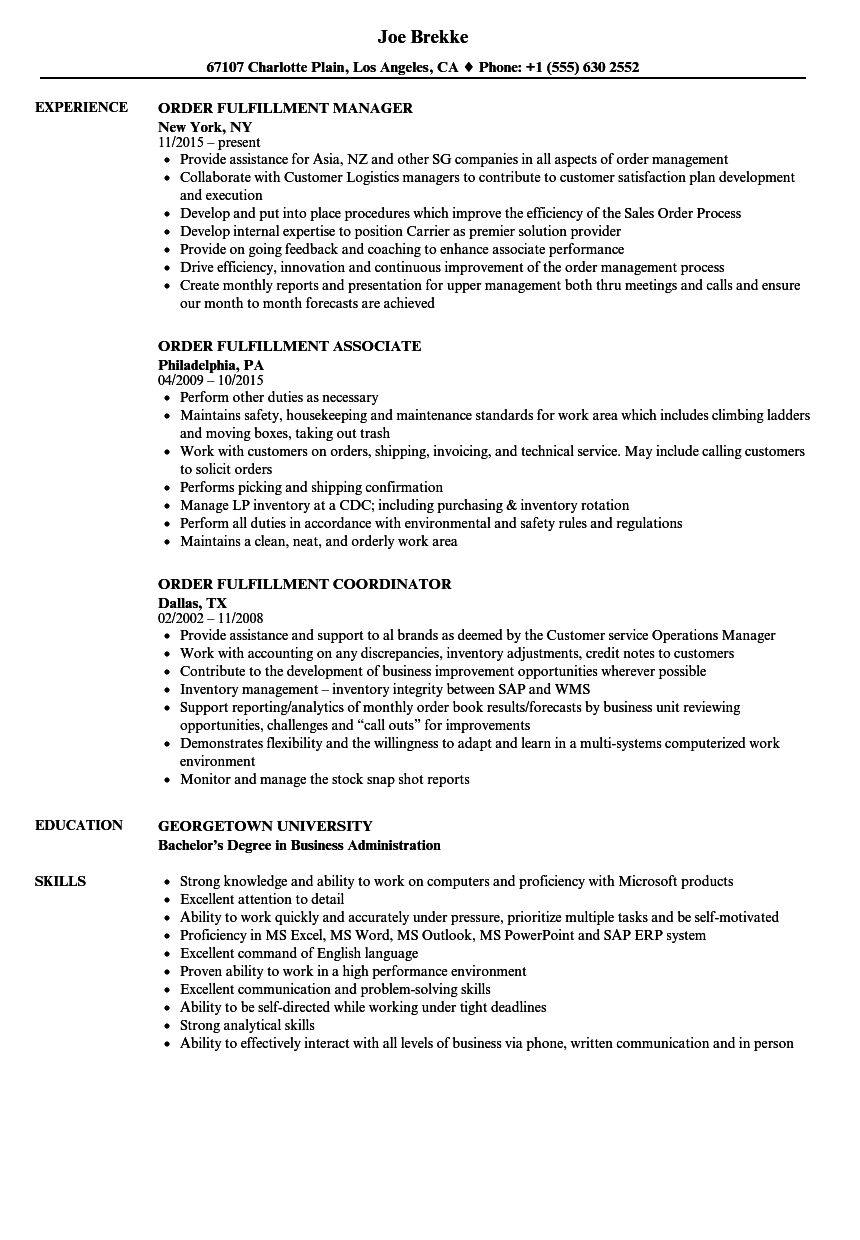 resume samples execution skills
