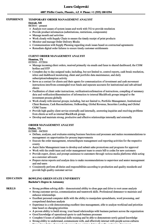 order fulfillment resume sample