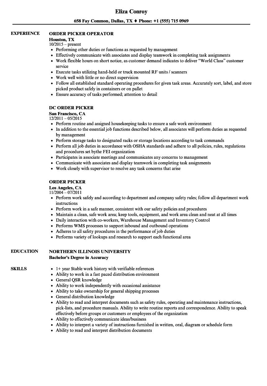 order selector resume sample