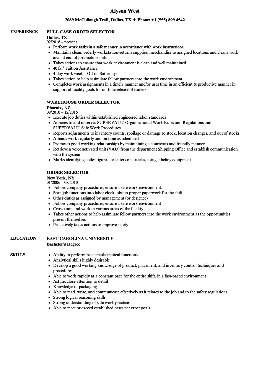 sample resume for a warehouse selector