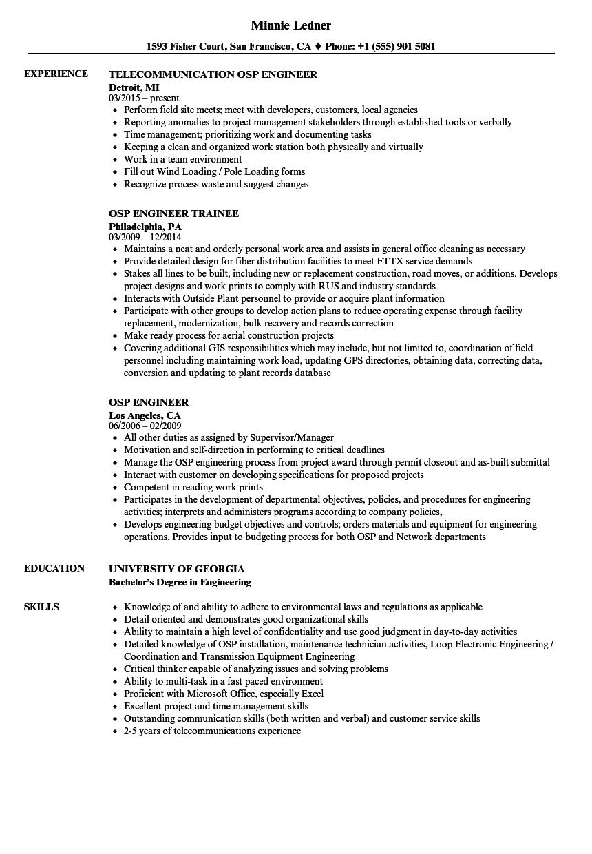 osp engineer resume sample