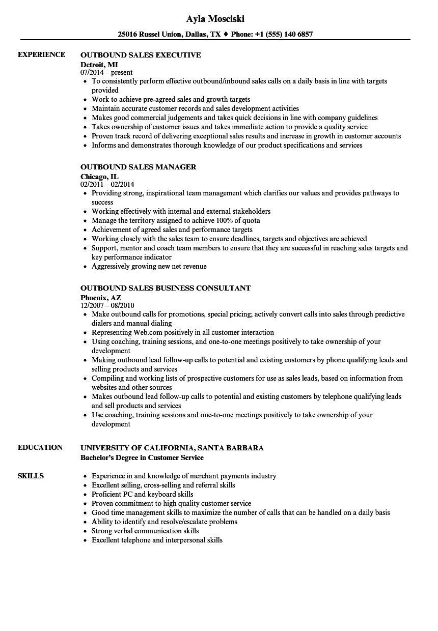 sales experience resume sample