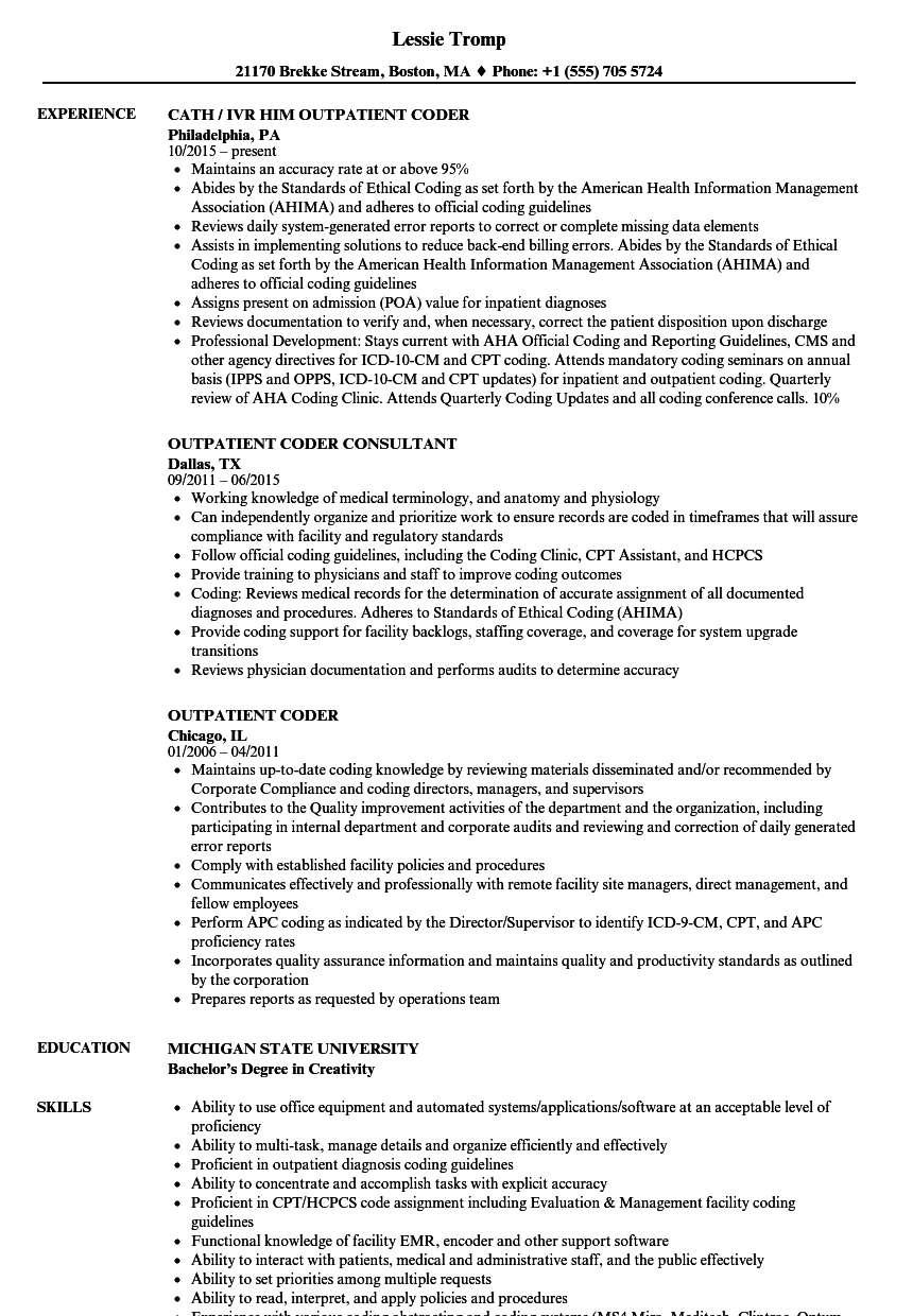 sample resume for inpatient coder