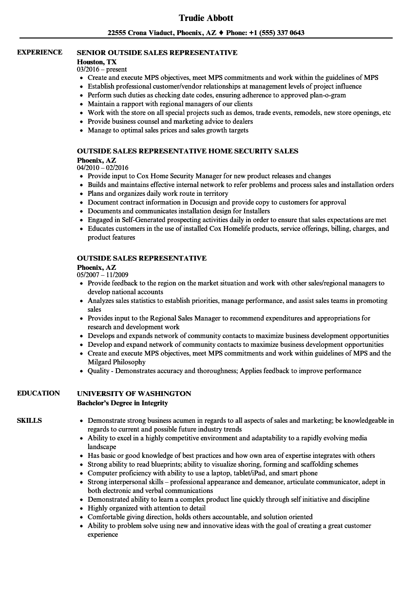 outside sales job resume examples