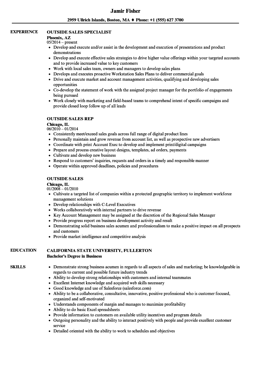 outside sales rep resumes