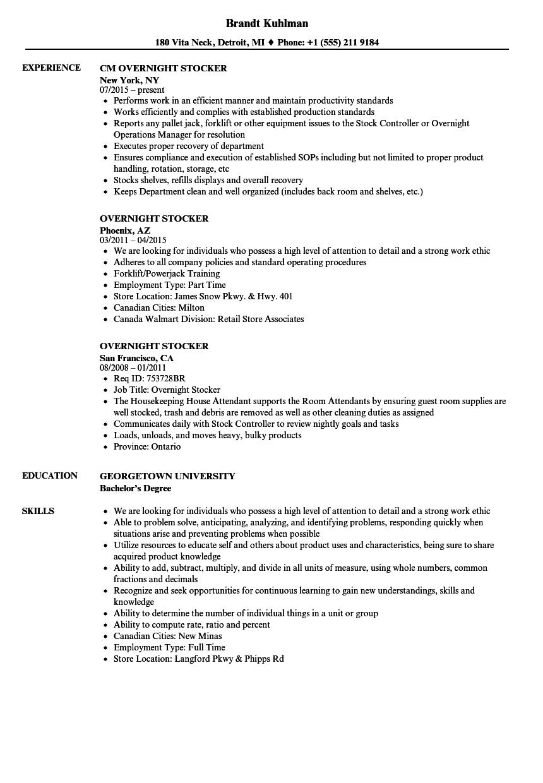 resume samples for stocker