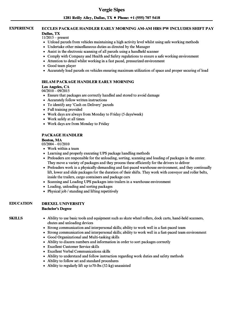 fedex package handler resume examples