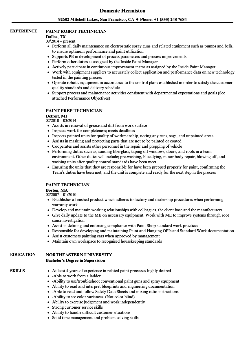 technician job resume skills