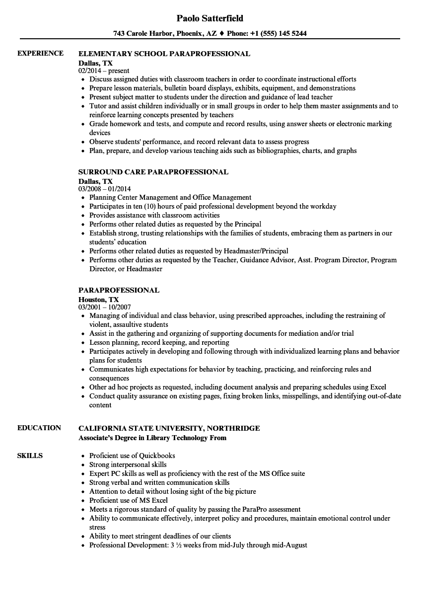 sample of resume for paraprofessional