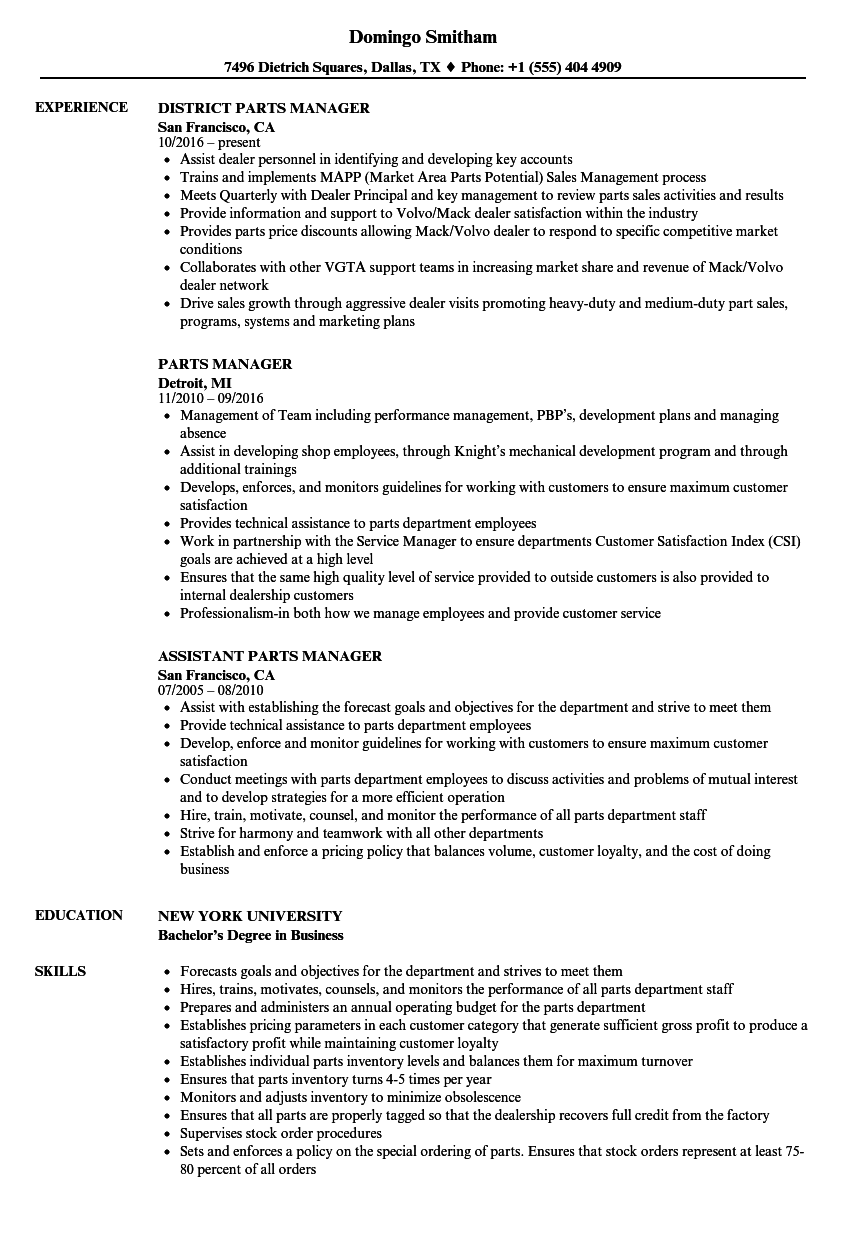 resume examples for parts manager