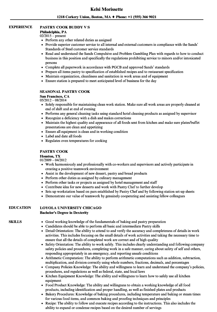 pastry cook resume examples
