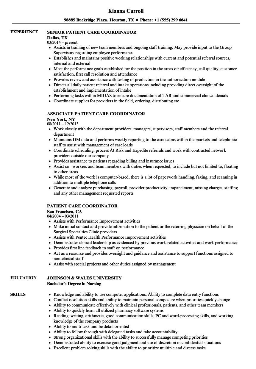 sample resume for placement coordinator