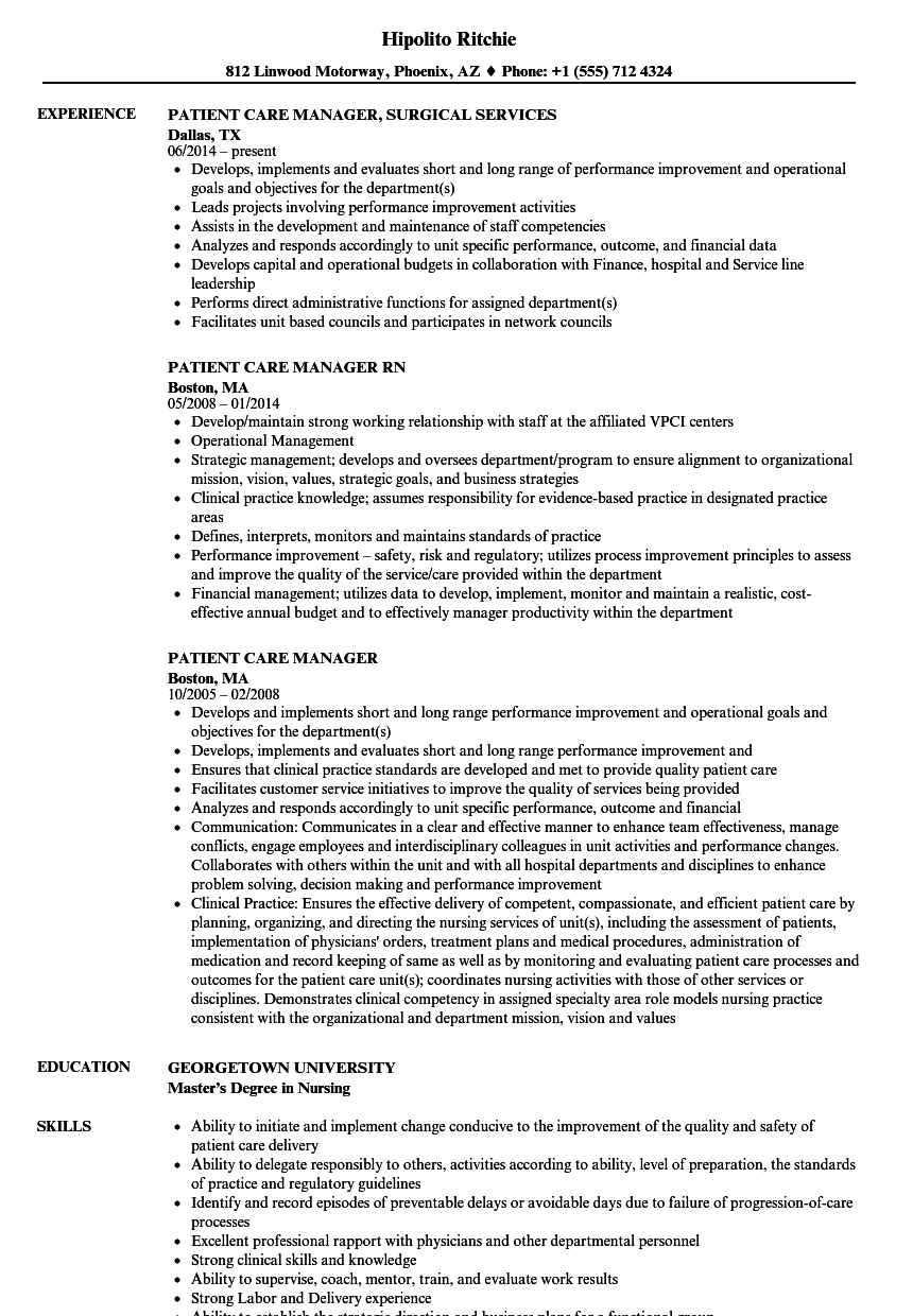 patient care manager resume