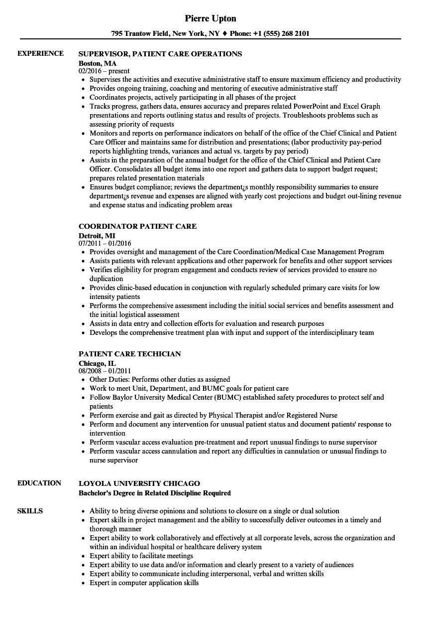 dialysis patient care technician sample resume
