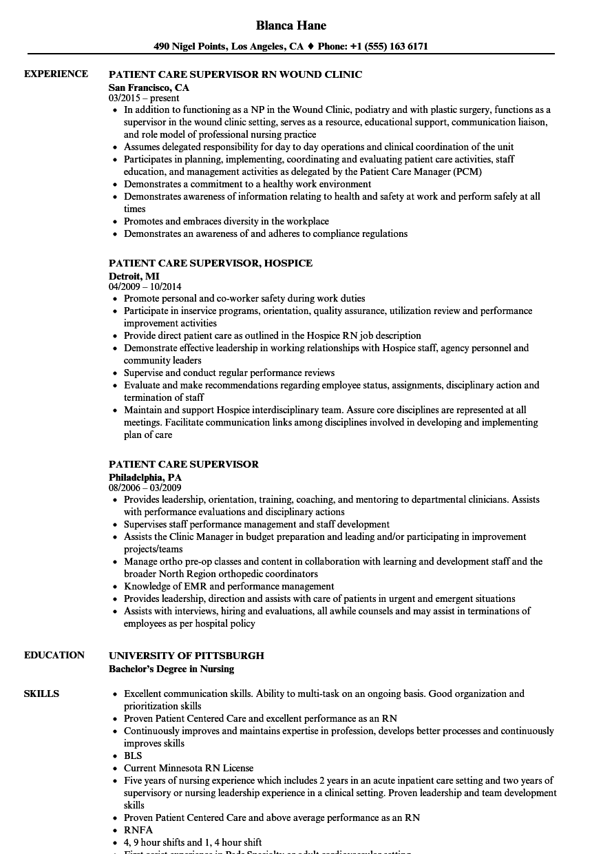 patient services resume sample