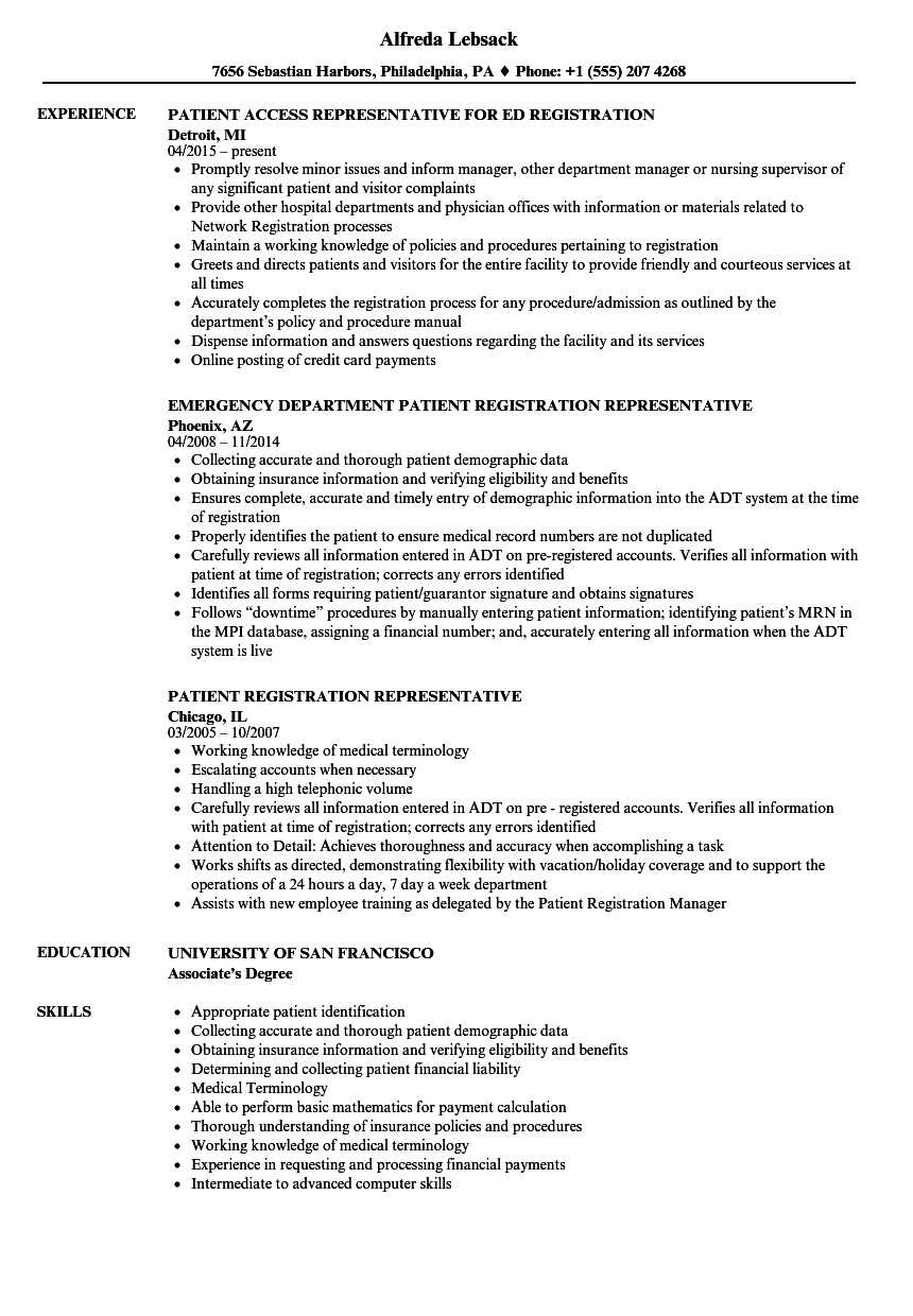resume for job of medical representative