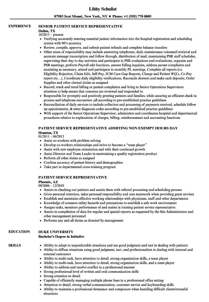 patient access rep resume sample