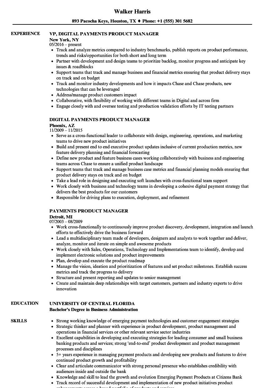 mobile product manager resume sample
