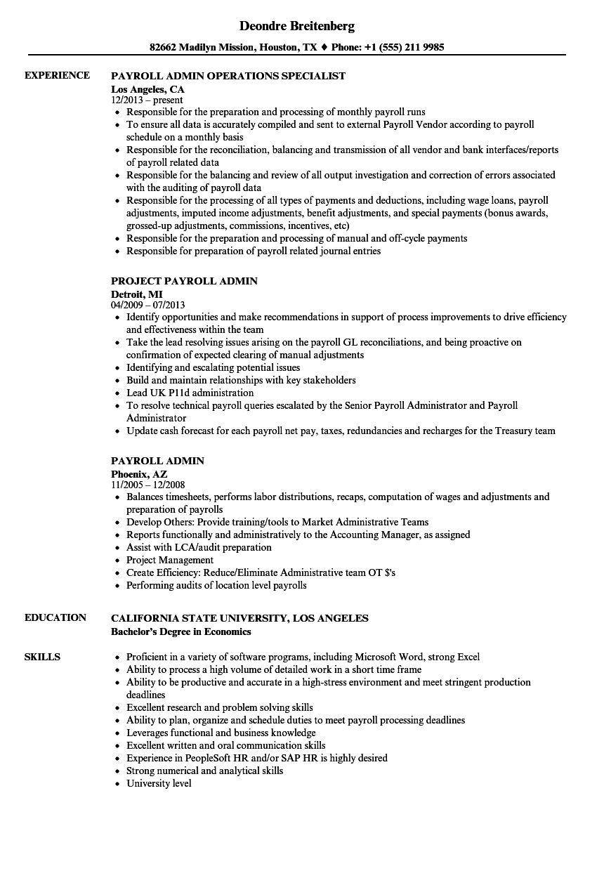 examples of a resume for payroll skills
