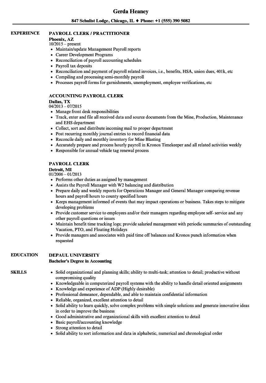 sample resume for payroll clerk