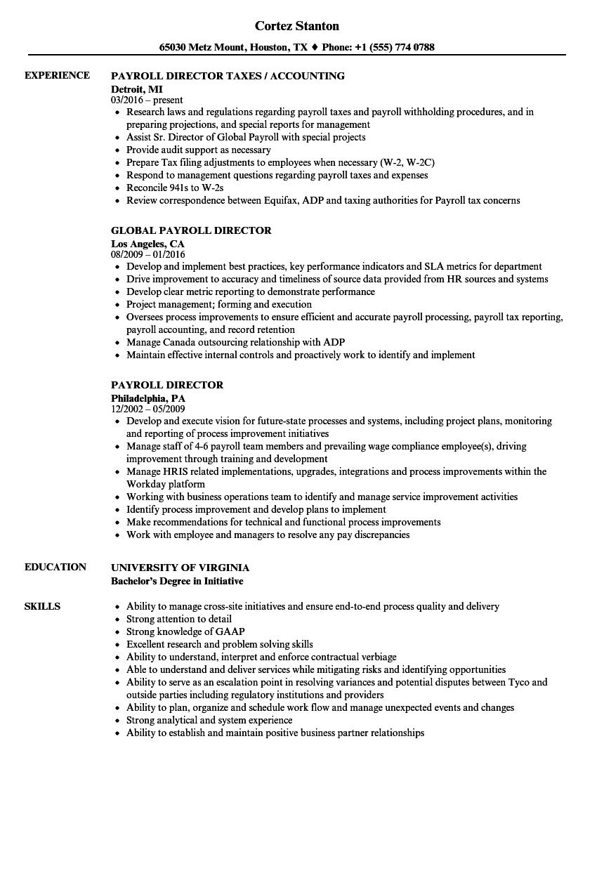 human resources director payroll resume sample