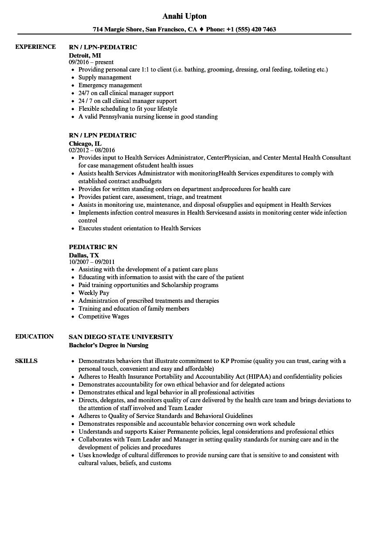 pediatric registered nurse resume examples