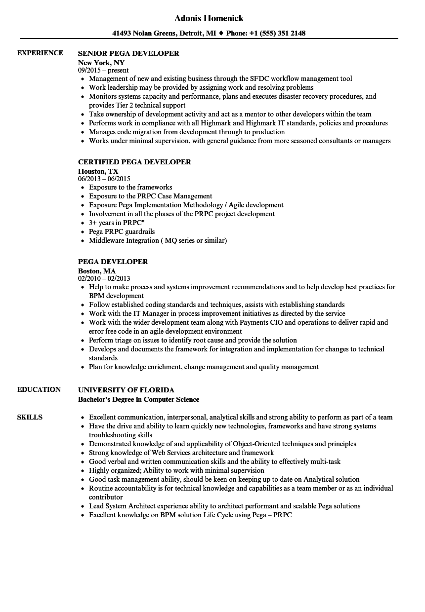 pega sample resume with years experience