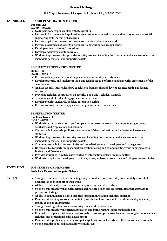 pentester resume example