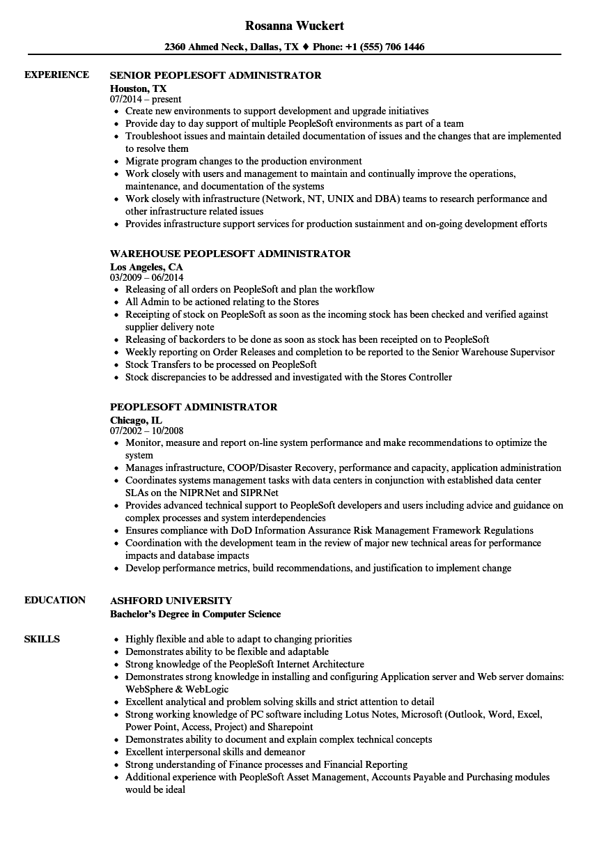 erp administrator resume sample