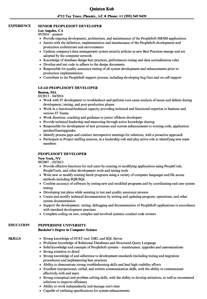 peoplesoft crm sample resume