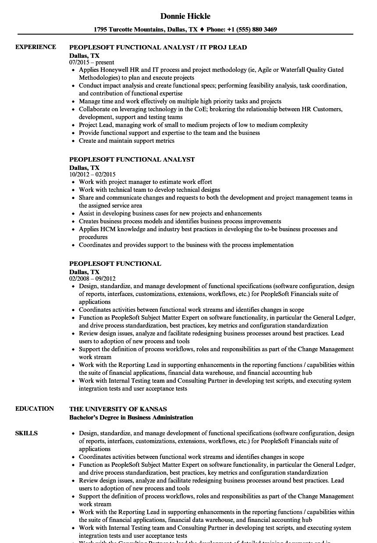 peoplesoft functional resume examples