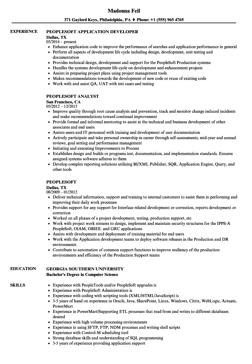 sample resume of peoplesoft functional consultant