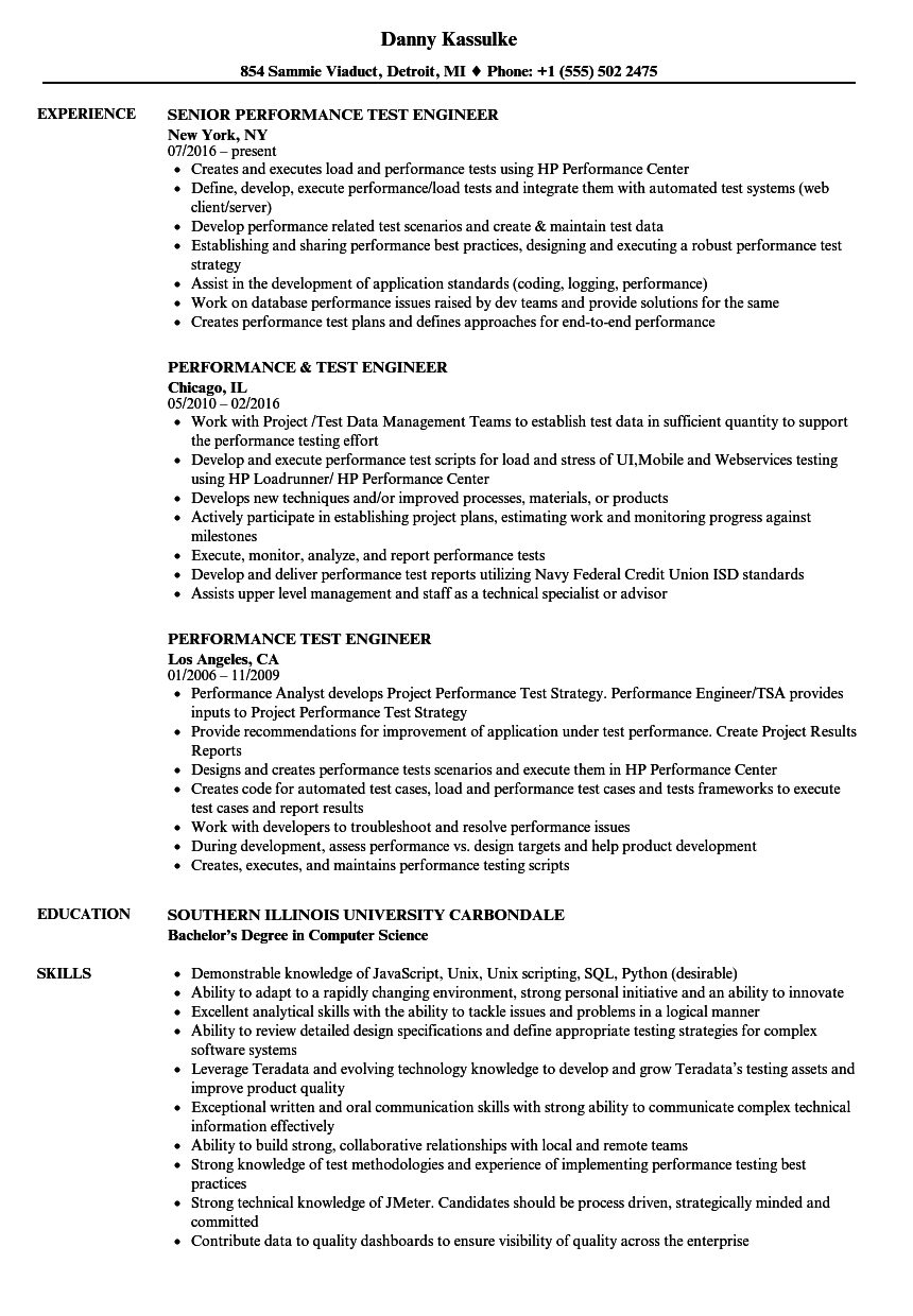 sample resume for performance test engineer