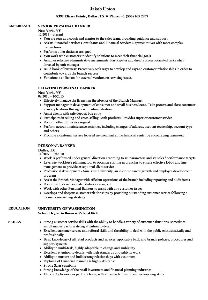 private bank resume examples