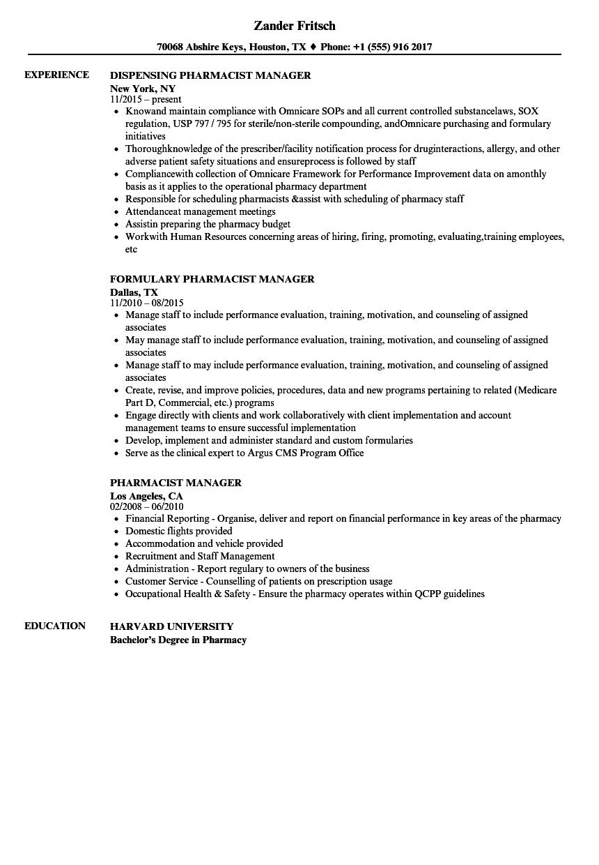 sample of pharmacy manager resume