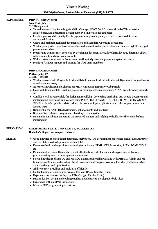 mysql sample resume