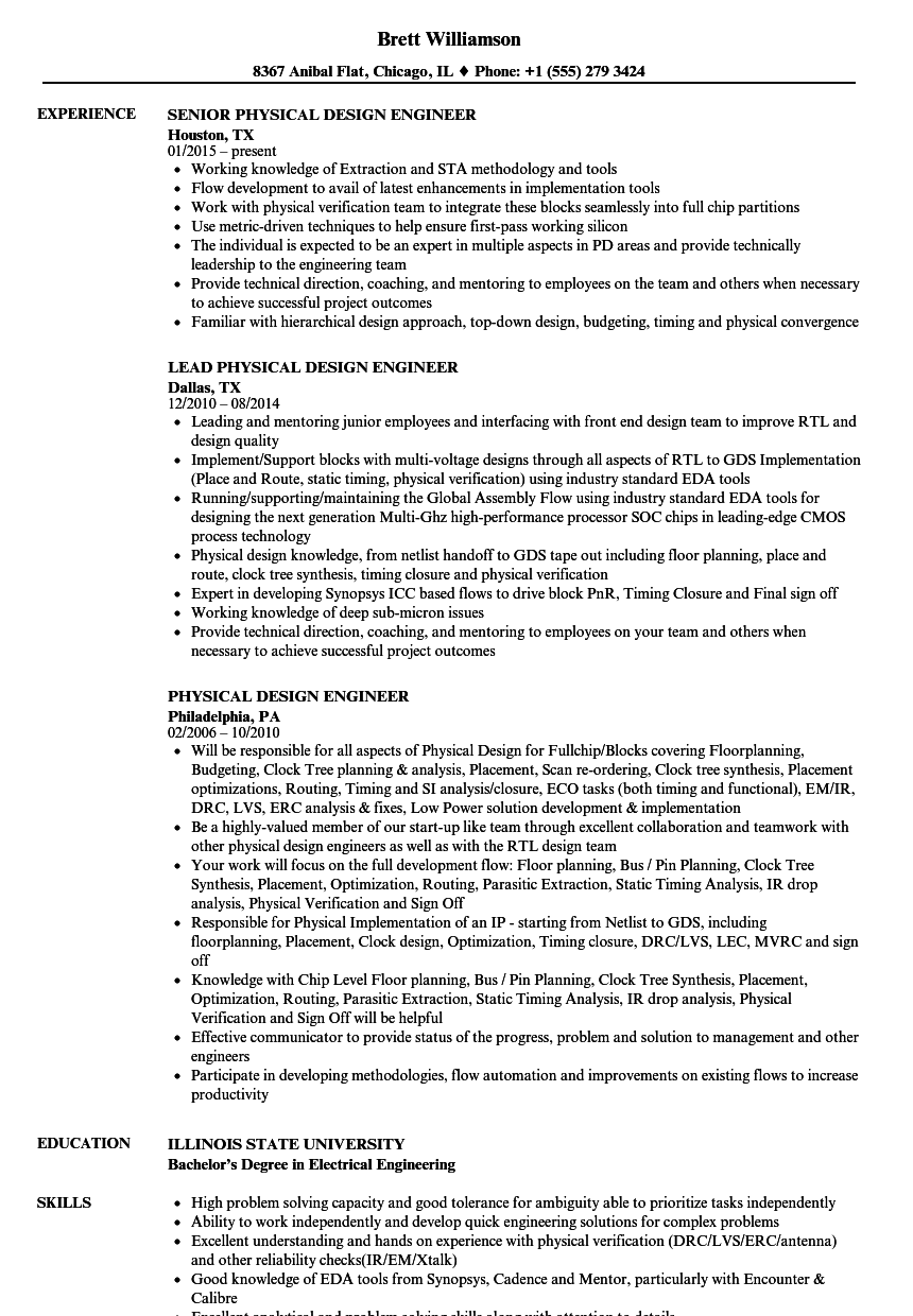 sample resume physical design engineer