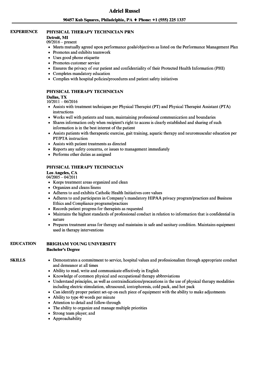 physical therapy technician resume examples