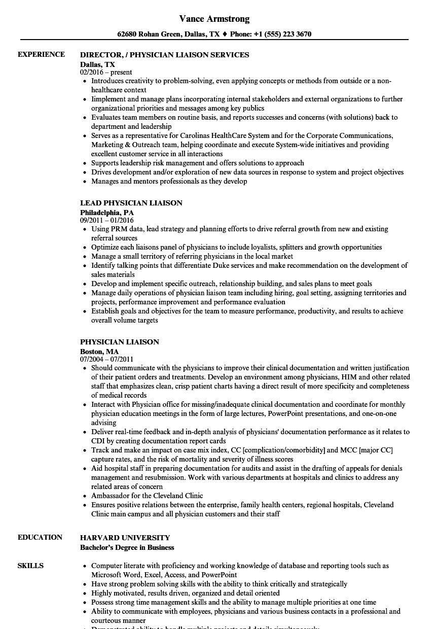 sample resume physician liaison