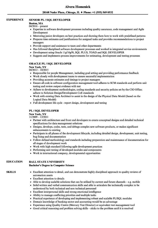 sample resume on sql server