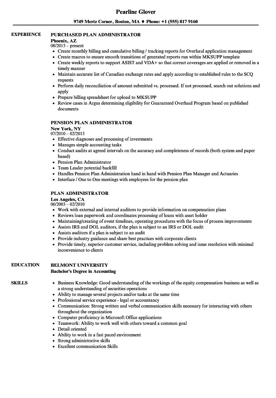 pension plan administrator sample resume