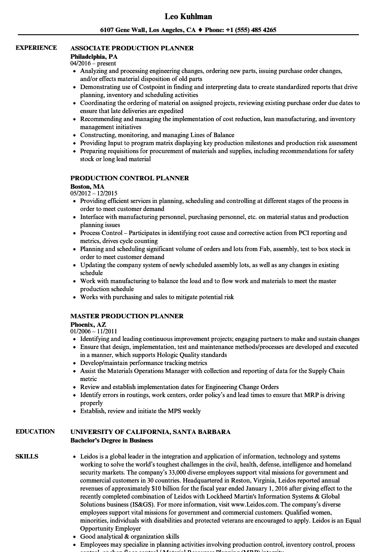 production planner resume sample