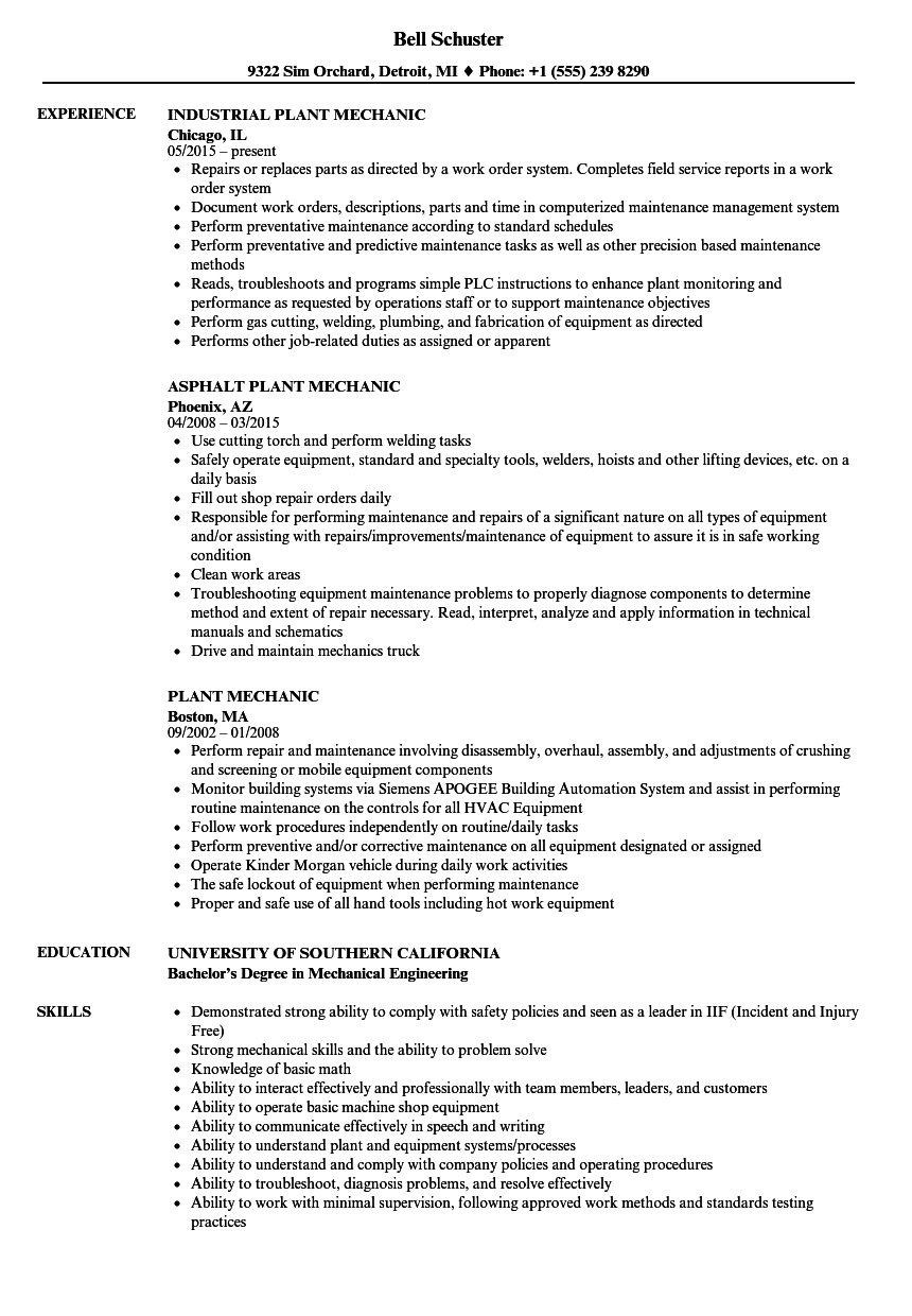 resume template plant mechanic