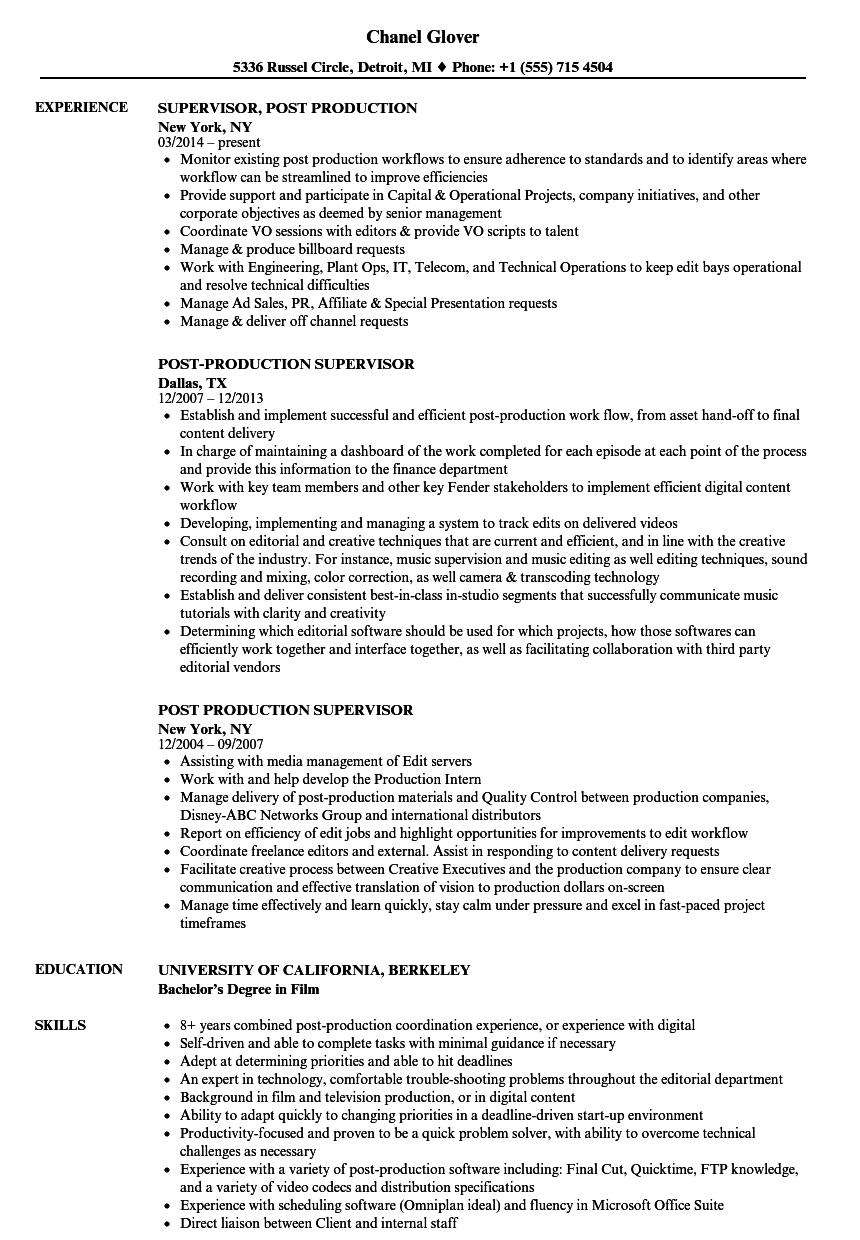 resume builder for production supervisor