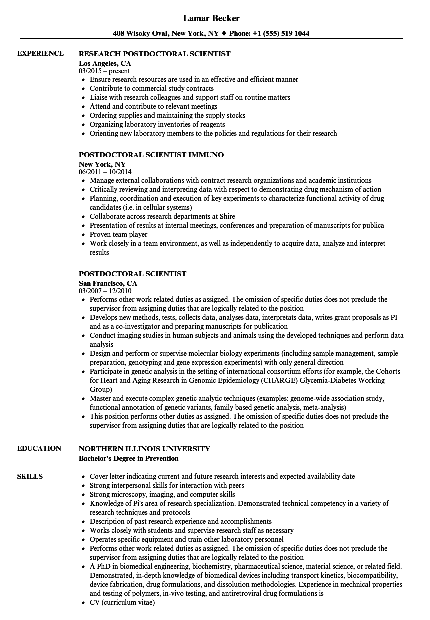 example cv research postdoc