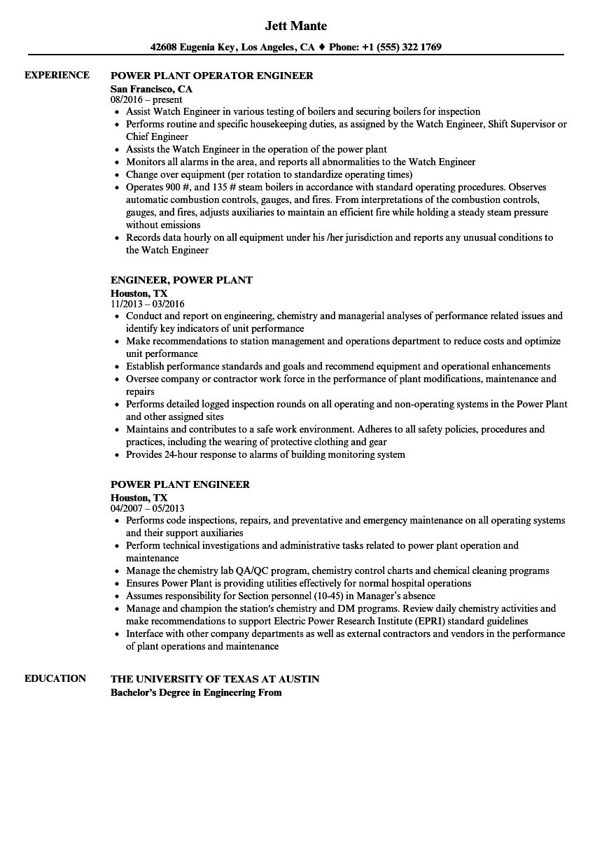 sample resume for electrical engineer in power plant