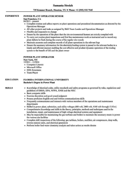 power plant operator sample resume