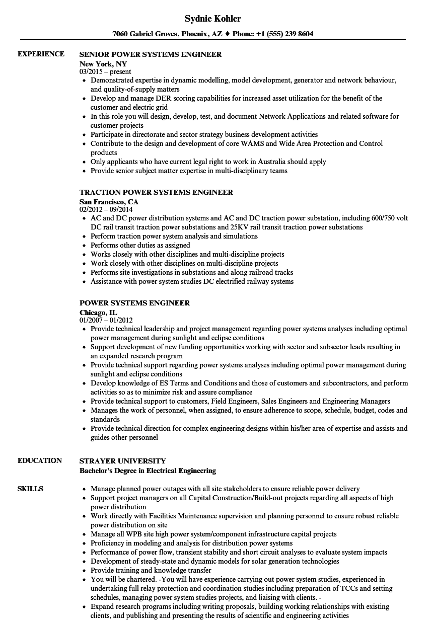 control systems engineer resume sample