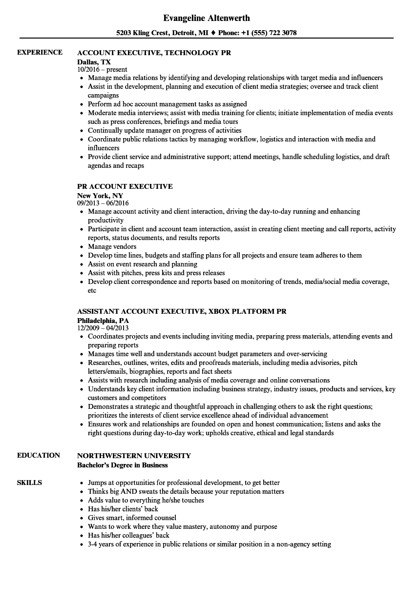 assistant account executive sample resume