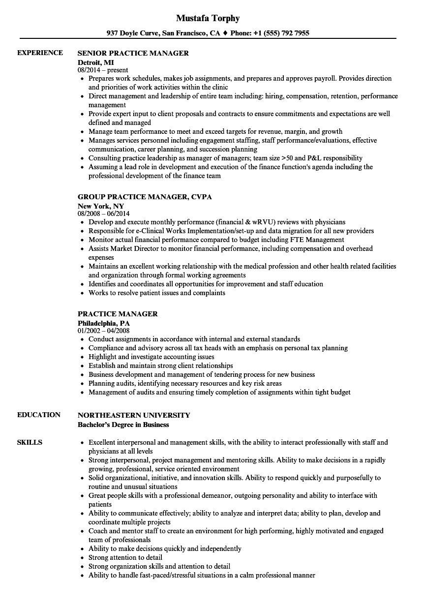 sample resume physician office manager